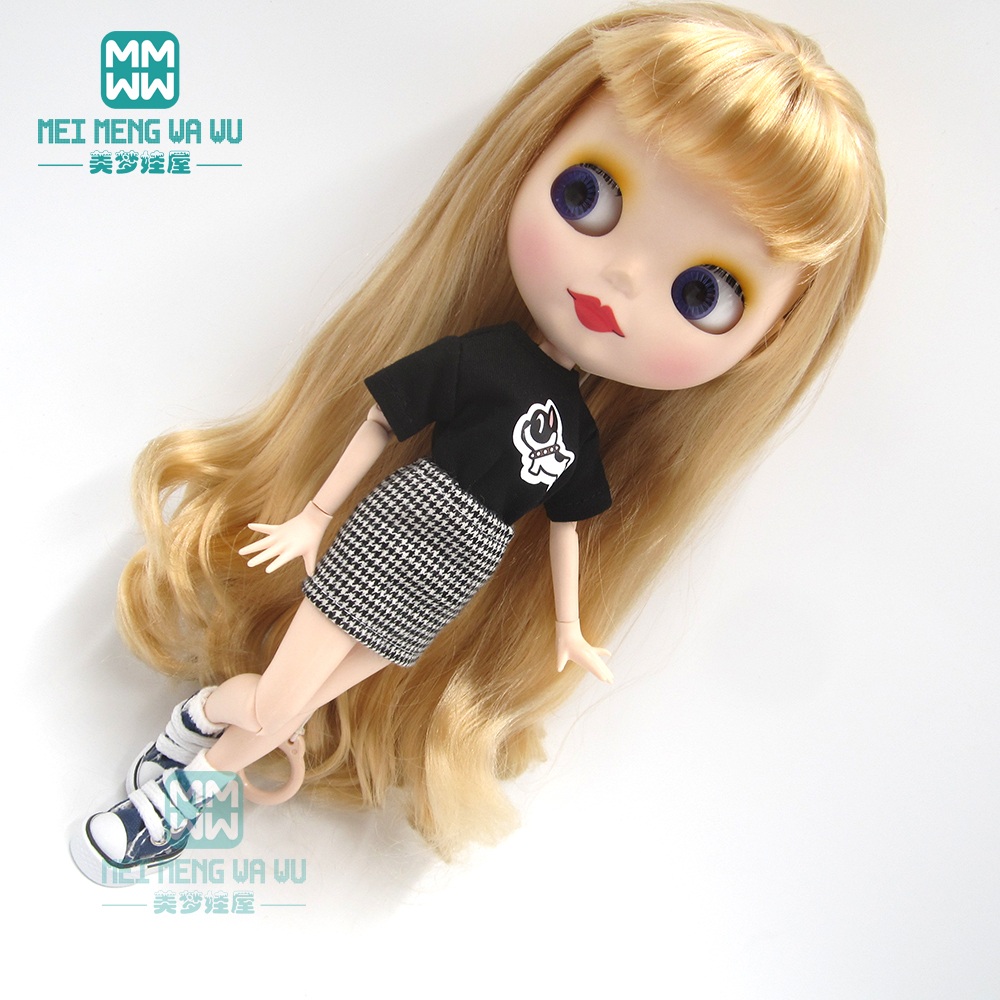 1pcs Blyth Doll Clothes Black T-shirt, Plaid Skirt For Blyth , Azone OB24 OB23 1/6 Doll Accessories