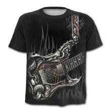 Черная крутая футболка с 3d принтом гитары мужская повседневная