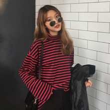 2019 New Vintage Fashion Basic Loose Casual Striped All Match Simple Long Sleeve Female T-shirts xiaying smile women maternity dress female fashion all match boat neck sexy loose embroidery striped short dresss long sleeve