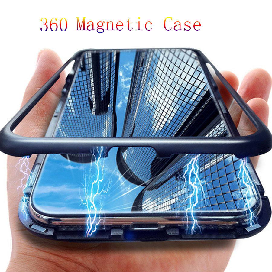 360 Aluminum Metal Bumper For Samsung Note 10 9 Tempered Glass Case Full Magnetic Case For Samsung Galaxy S10 S9 S8 Plus Note 8