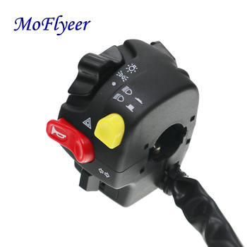 MoFlyeer 7/8 Motorcycle Handlebar Switch Assembly Horn High/low Beam Headlight Fog Light Warning Push Button Switches