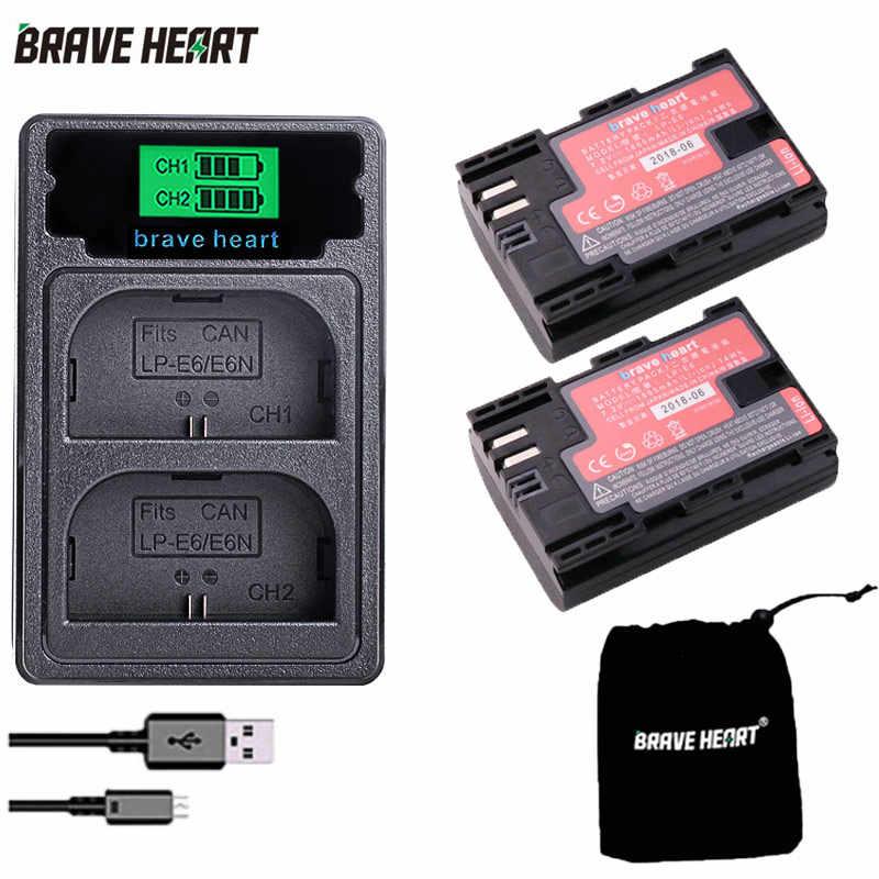 USB doble batería cargador ajusta LP-E6 LP-E6N para Canon EOS 6D 7D 80D 70D 60D 60Da