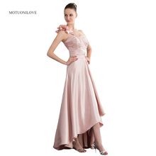 цена на High Low Prom Dresses Flowers One Shoulder Pink Satin Plus Size Party Dress Customized Women's Formal Evening Gowns For Weddings