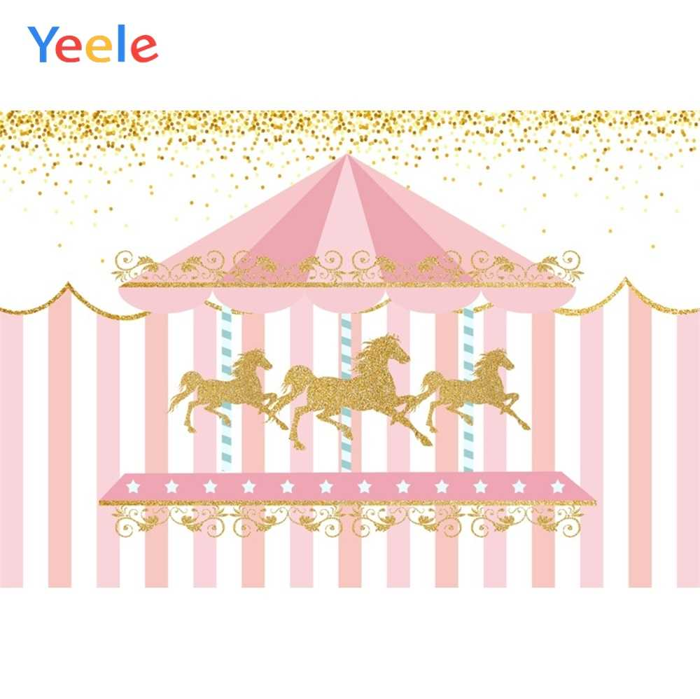 Yeele Carousel Stripes Horse Birthday Party Decor Photography Backgrounds Customized Photographic Backdrops for Photo Studio