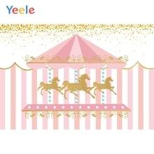 Yeele קרוסלה פסים סוס תינוק מסיבת יום הולדת דקור צילום מותאם אישית רקע צילום תפאורות צילום סטודיו