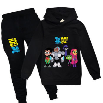 HOT Boys girls Sweatshirt Teening Titans GO Kids Hoodies spring Autumn Clothes Long Sleeve Cartoon Top Tees Children Clothing mickey minnie clothing girls boys kids spring autumn long sleeve casual hoodies sweatshirt skirt shorts legging 2 pcs sets