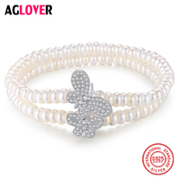 AGLOVER Genuine Natural Freshwater Pearl Bracelets Bangles For Women Two Bracelet Elasticity 925 Silver Butterfly Jewelry Gift