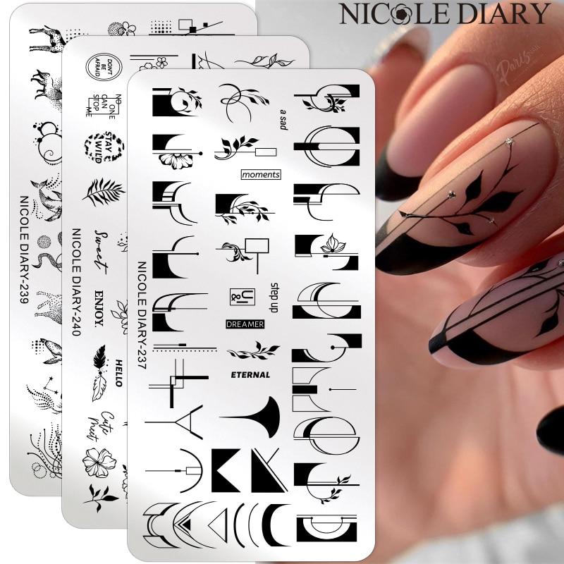 Николь дневник цветок во французском стиле; Модель пластины для стемпинга ногтей в виде листа, геометрической формы с цветочным принтом, набор для стемпинга и нейл трафарет шаблон печати      АлиЭкспресс - Для красоты и здоровья