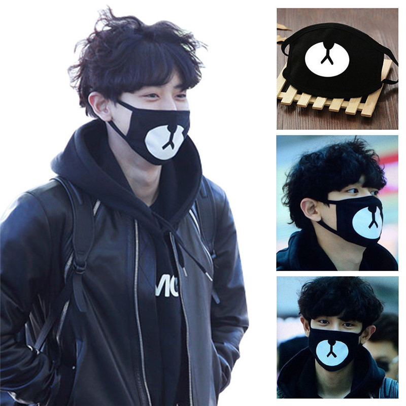 2019 Cotton Mouth Face Mask Unisex Korean Style Black Bear Cycling Anti-Dust Cotton Mouth Mask Facial Protective Cover 1PCS