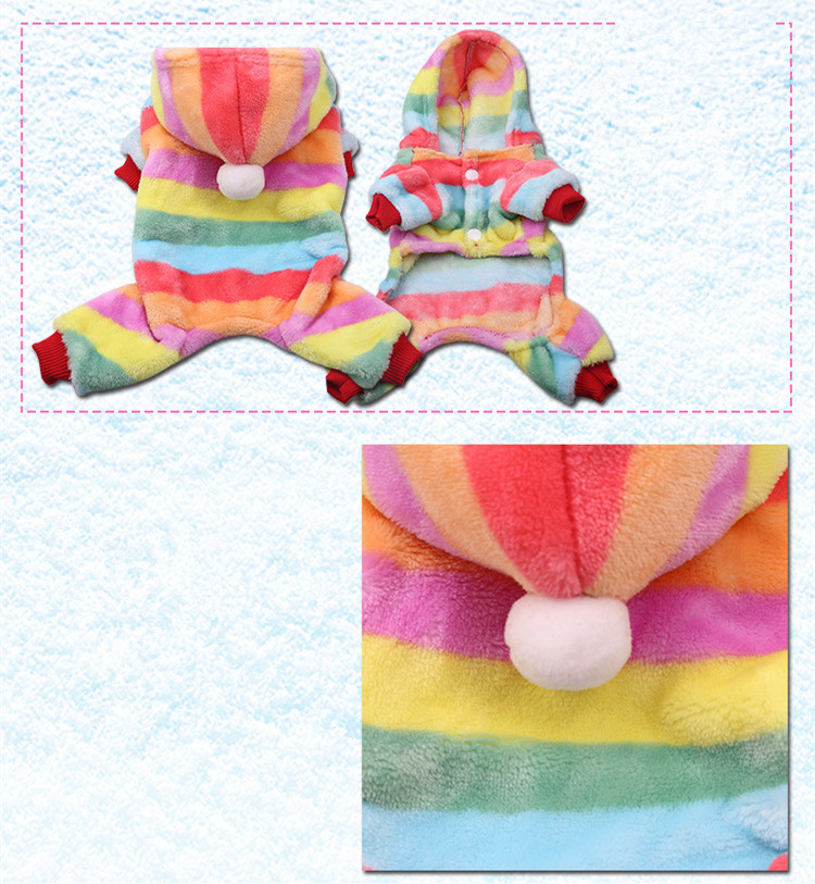 Dog Clothes Pajamas Jumpsuit Winter Pet Clothes Puppy Hoodies Fleece legs Warm Dog Clothing Outfit Small Dog Costume Apparel 4