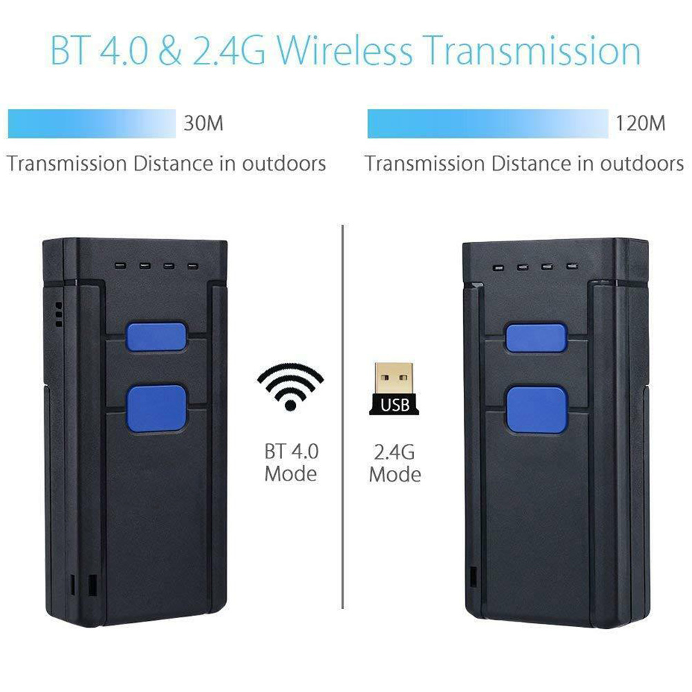 Mini Portable Portable Bluetooth ordinateur code-barres Scanner paiement alimenté par batterie poche Led lecteur sans fil Mobile rapide