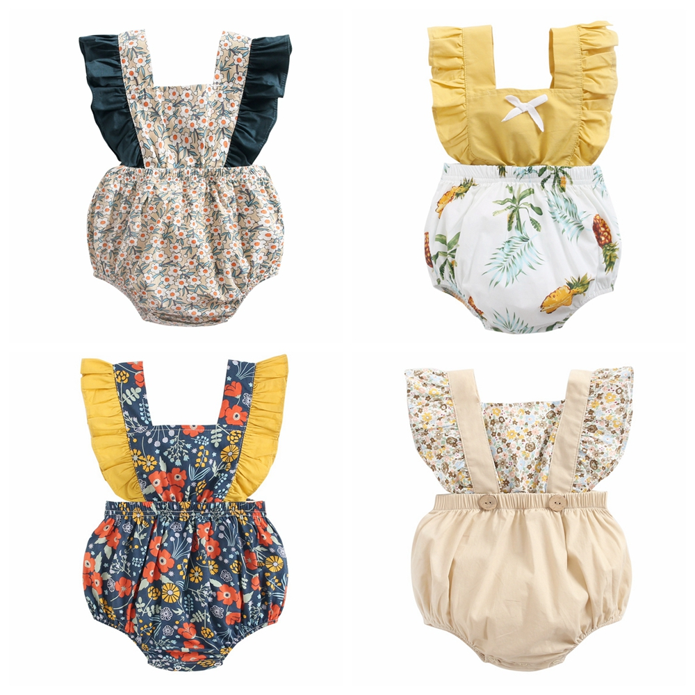 Sanlutoz flores do bebê meninas macacão roupas de verão para a menina do bebê princesa algodão da criança infantil roupas bonito