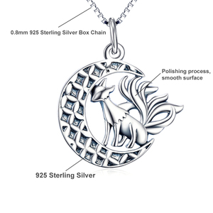 Image 3 - YFN 925 Sterling Silver Necklace Jewelry Nine Tail Fox Pendant Necklace With Moon Trendy Jewelry For Women Valentines Day Gifts
