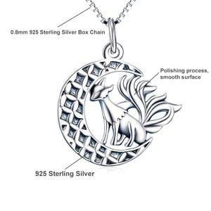 Image 3 - YFN 925 الاسترليني مجوهرات قلادة من الفضة تسعة الذيل الثعلب قلادة قلادة مع القمر العصرية مجوهرات للنساء هدايا عيد الحب