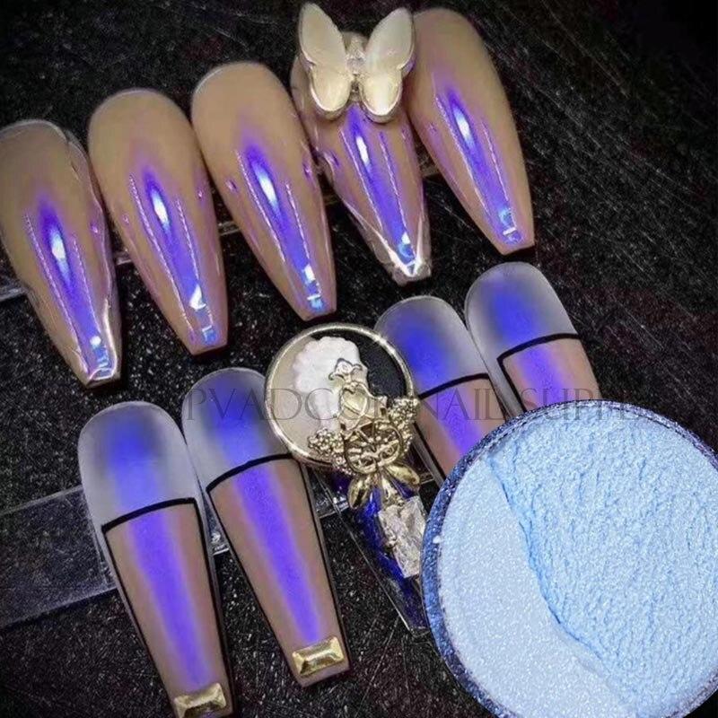 Blue Chrome Glitter Nail Art Powder Dust Iridescent Glimmer Pigment Glitters Nail Art Decorations