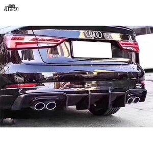 Карбур Стиль углеродного волокна задний бампер спойлер для Audi A3 седан лимузин спортивный бампер диффузор S3 8V 2017 2018 2019