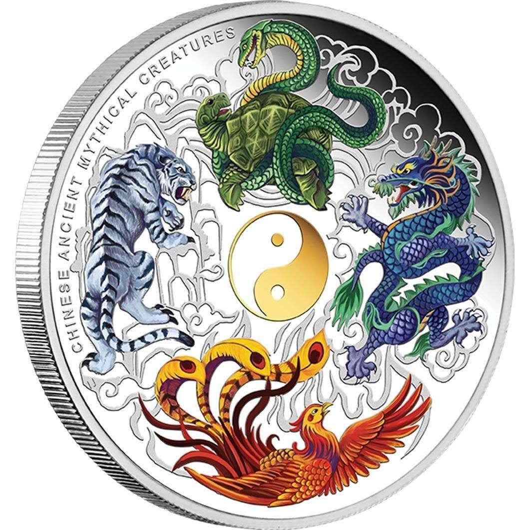 Красивые китайские старинные мифические существа Дракон Тигр вызов Серебряная монета Австралия 1 унция Элизабет сувенирные подарки