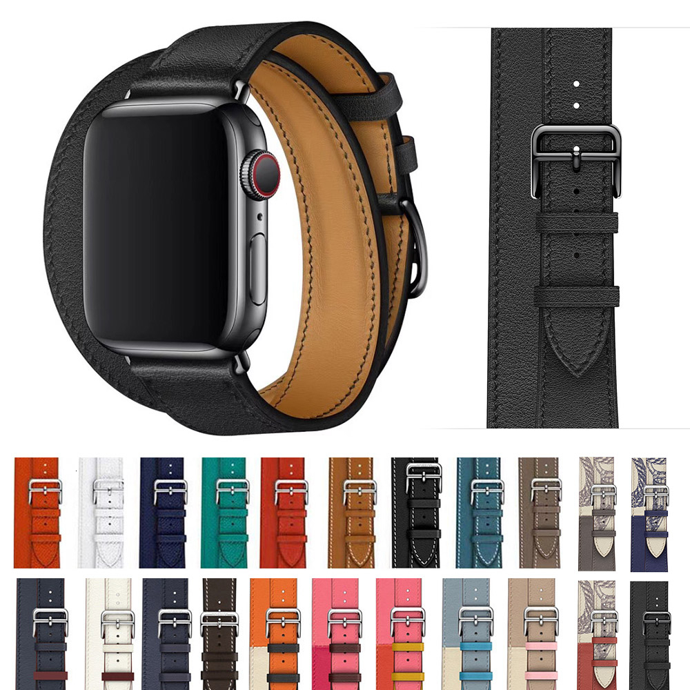 Cow Leather Double Tour Strap For Apple Watch Band 44mm Iwatch Bracelet Series 5 4 3 2 1 Smart  42mm Loop 38mm Replacement 40mm