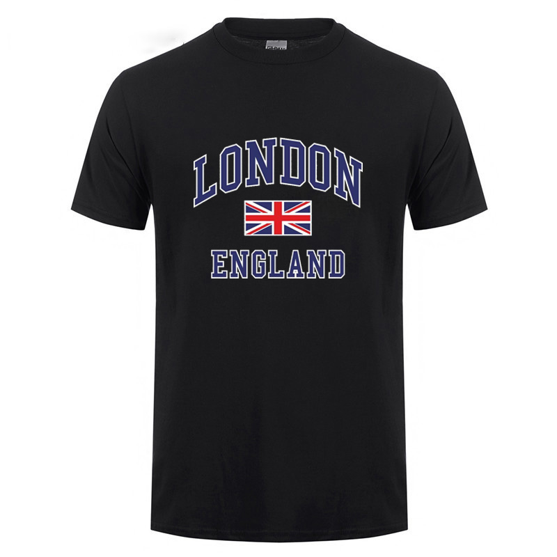 I Love London England Flag Union Jack T Shirt Novelty Souvenir Birthday Gift Mens Short Sleeve O Neck Cotton T-Shirt Summer Tops