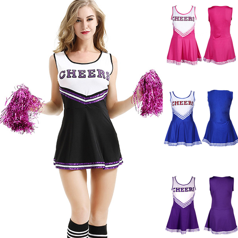 Girl Sexy Cheerleader Costume Skirt Sports Uniform With Pom Poms Musical Halloween Party Fancy Dress Team School Show Clothes