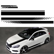 5Pcs Car Body Decal Racing Rally Sporty Sticker Car Hood Sticker Rearview Mirror Cover Decal Black Vinyl Stripe Sticker(China)