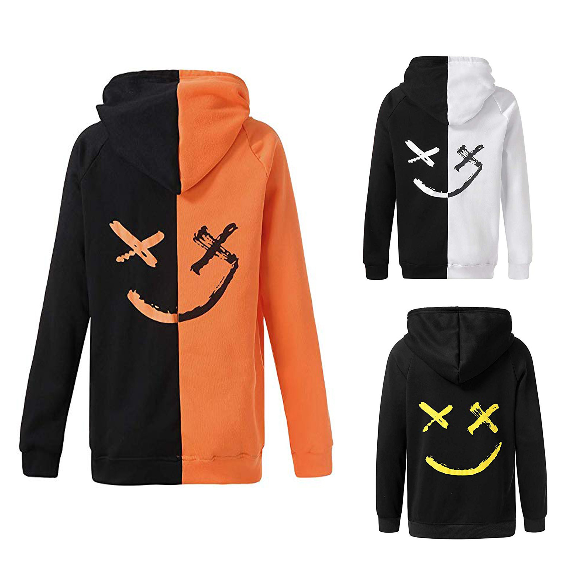 2018 EBay New Style Autumn Christmas Men'S Wear Smiley Printed Pullover Hoodie Coat