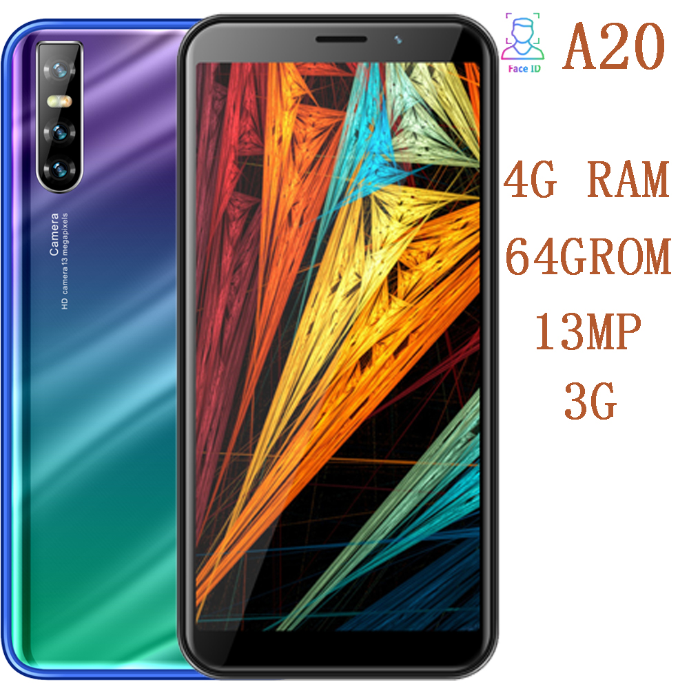 A20 Global smartphones 4G RAM 64G ROM quad core 5mp+13mp camera Face ID unlocked android mobile phones cheap celulares 3G WCDMA title=