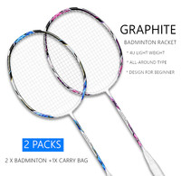2pcs 100% Carbon Fiber Badminton Rackets Set Professional Super Lightweight Badminton Racket with Carry Bag for Beginner