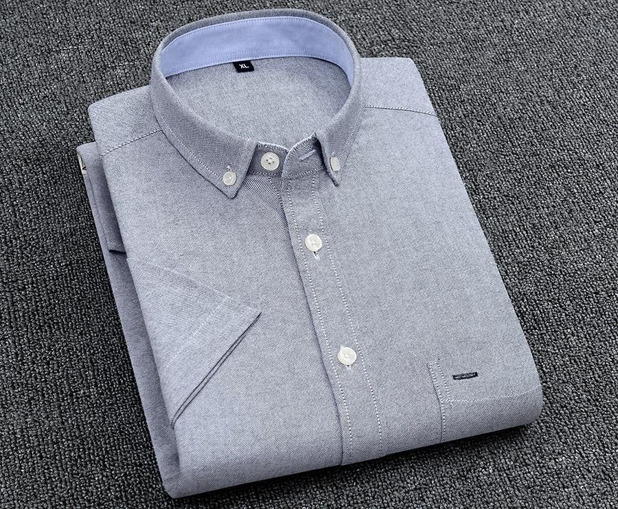 Hecb5b2369629410da113a2f77767bed59 Men's Summer Pure Cotton Oxford Shirts Casual Slim Fit Design Short Sleeve Fashion Male Blouse Shirt