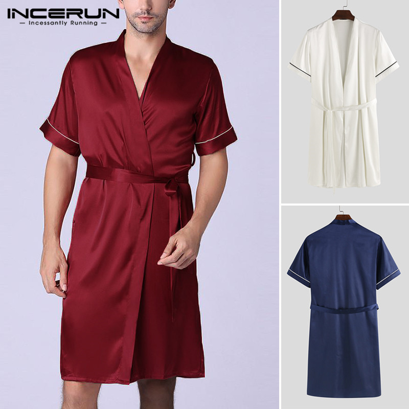 Men Bath Robe Silk Waffle Shower Sleepwear Couple Short Sleeve Nightgowns Robe Male Female Blue Loose Pajamas Plus Size INCERUN