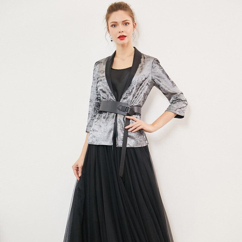Blazer Women Spring Summer Brand New Elegant Printed Graffiti Notched Collar Three Quarter Sleeves Slim Gray Jacket Top S-XL