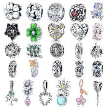 WOSTU Flower Silver Charms 925 Sterling Silver Tree Of Life Beads Enamel Pendant DIY Jewelry Making Bracelet Necklace For Women