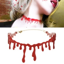 FEECOLOR 2pcs Fashion Halloween Party Dress Ball Punk Rock Blood Red Stitch Choker Necklace PFS