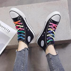 Image 3 - SWYIVY Women Vulcanized Shoes Cartoon Rainbow Lace Up Canvas Shoes Women Platform Flat High Top White Ladies Casual Sneakers