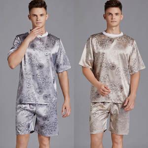 Short-Pant Sleepwear Pajamas-Sets Silk Mens Summer Two-Piece-Set Dragon-Suits T-Shirts