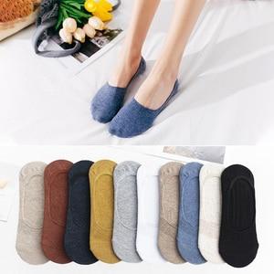 Image 1 - Calcetines invisibles de algodón para mujer, calcetín antideslizante de silicona, para primavera y verano, pantuflas, 5 pares, 10 unidades