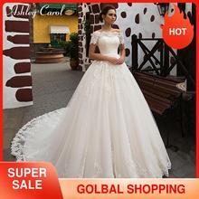 אשלי קרול נסיכת אונליין שמלת כלה 2020 רומנטי אפליקציות קצר עם מעיל 2 ב 1 תחרה עד הכלה שמלת Vestido דה Noiva