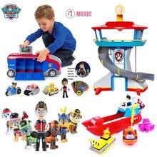 Pata patrulha dogpuppy carro de patrulha marshall ryder carro patrulla canina brinquedo modelo de fantoche móvel brinquedos das crianças