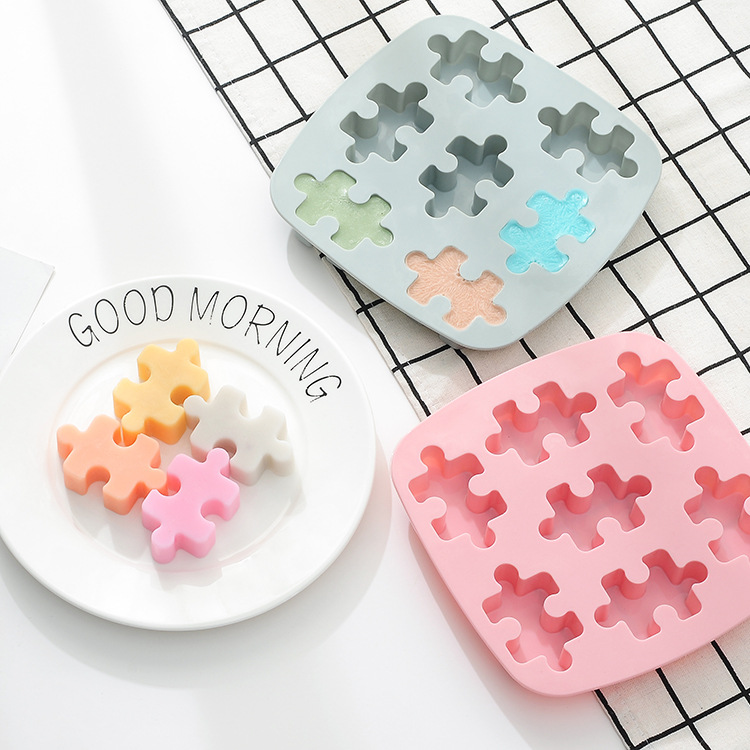 Silica Gel Creative Ice Plaid Mould Microwave Oven Bakery Chocolate Jigsaw Puzzle Do Biscuit Tool