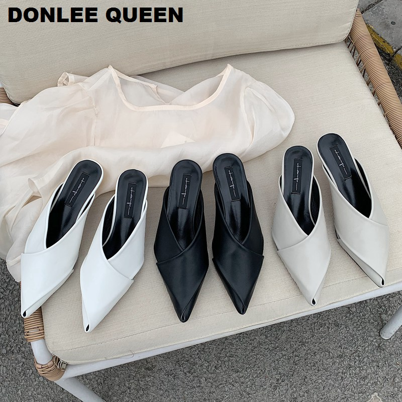 2020 New Fashion Slippers Woman Mules Shoes Med Heels Pointed Toe Slides Sexy Ladies Shoes Women Party Office Shoe Zapatos Mujer