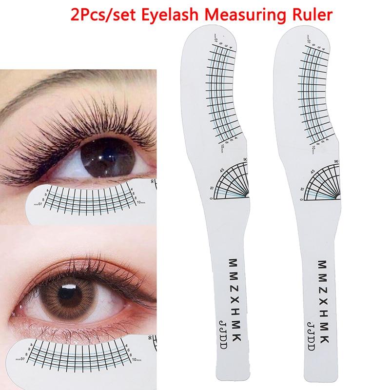 2pcs Eyelash Measuring Ruler Eyelashes Length Curling Degree Ruler Lashes Symmetrical Positioning Extension Tool New