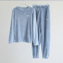 Inverno conjunto de pijama feminino grosso quente coral velo 2 pçs pijamas senhoras macio quente manga longa pijamas casa loungewear
