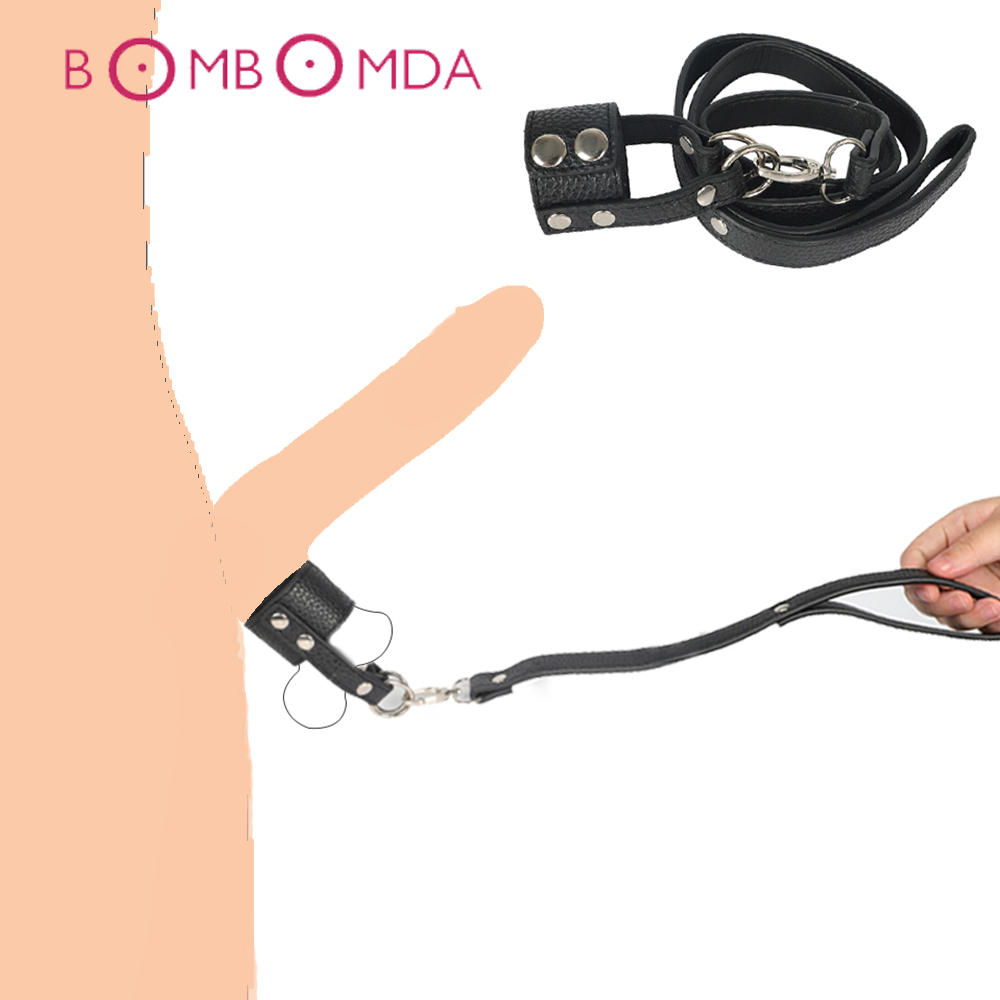 BDSM Bondage Penis Ring <font><b>For</b></font> <font><b>Men</b></font> Cock Aid Chain Leash Leather Cock Ring <font><b>Ball</b></font> <font><b>Stretcher</b></font> Bondage <font><b>Adult</b></font> Game <font><b>Sex</b></font> <font><b>Toys</b></font> <font><b>For</b></font> Couples image