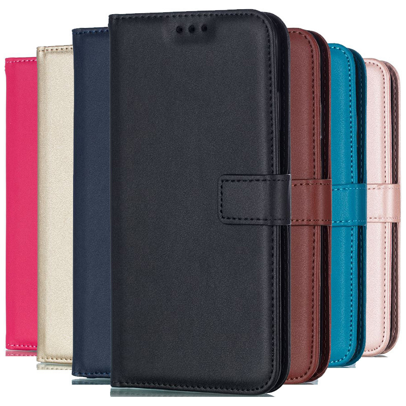 Solid Color Leather Wallet Case For Samsung Galaxy S10 S10e S9 S8 Plus S7 S6 Edge S5 S4 S3 mini Note 9 8 5 Flip Cover Card Slot