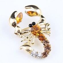 Скорпион, насекомое, брошь, эмалированный штифт металлический штырь отворотом Для мужчин ювелирные изделия Броши для подарков для Для женщин Броши со стразами