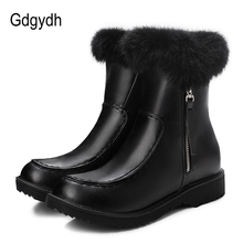 Gdgydh White Suede Snow Boots Women Flat Shoes Mid-calf Boots For Winter Real Fur Waterproof With Zipper Warm Russia Big Size 43