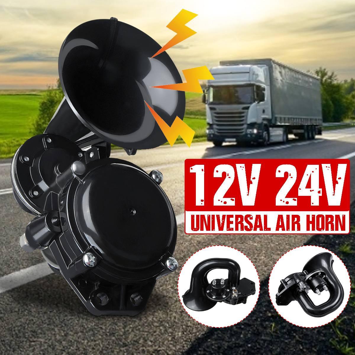 Внешний громкий гудок для грузовика, 12 В, 24 В, воздушный Гудок с электрическим клапаном, плоский для авто, автомобиля, грузовика, автобуса, фу...