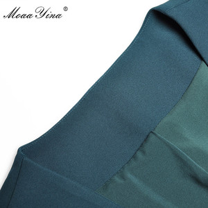 Image 4 - MoaaYina Fashion Designer Set Spring Summer Women V neck jacket Tops+Bell bottoms Two piece suit