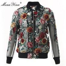 MoaaYina High Quality Fashion Designer Jacket jacket Autumn Women Mesh Embroidery Applique Beading Black Vintage