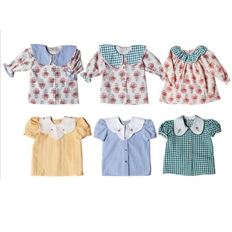 Блузка для девочек 1-10 лет, весенне-летняя детская рубашка с рукавом до локтя и принтом водяных лилий, детские топы